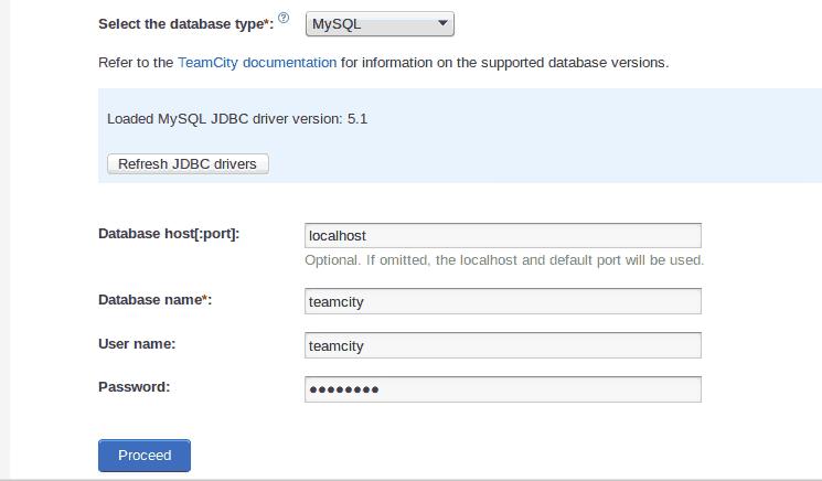 Instalar e configurar TeamCity 9 em Linux images/11-install-and-configure-teamcity-9-linux-mint-ci-server/209-teamcity-database-configured.png