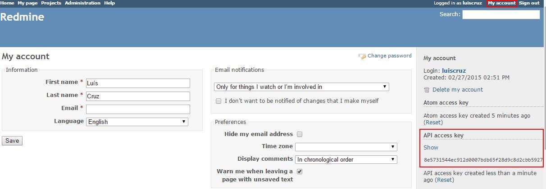 Integrar SonarQube com TeamCity e Redmine images/15-integrate-sonarqube-with-teamcity-and-redmine/255-redmine-api-acccess-key.png