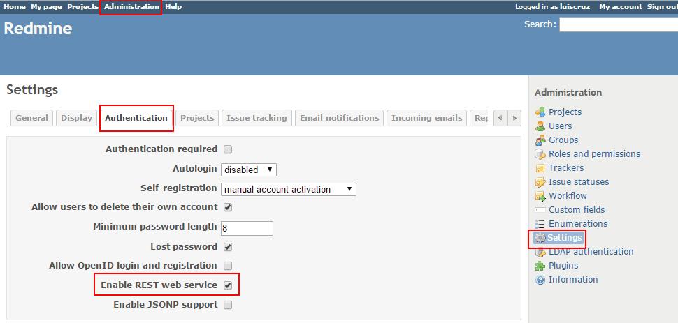 Integrar SonarQube com TeamCity e Redmine images/15-integrate-sonarqube-with-teamcity-and-redmine/256-redmine-enable-rest-api.png