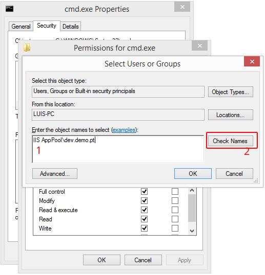 Atribuir permissões ao cmd.exe para aplicações ou sites servidos pelo IIS images/25-atribuir-permissoes-cmd-exe-para-aplicacoes-sites-servidos-por-iis/set-permissions-to-cmd-exe-iis-application-pool-user.png